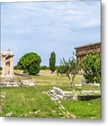 Ancient Temple At Famous Paestum Archaeological, Italy Metal Print