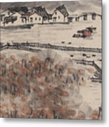 Ancient Town River Paintingancient Town River Painting Metal Print