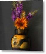 Ancient Vase And Flowers Metal Print