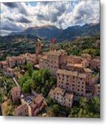Ancient Village Of Sarnano Italy, Marche, Macerata - Aerial View Metal Print