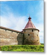 Ancient Wall And Tower Of The Fortress Oreshek Metal Print