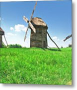 Ancient Windmills In Field Metal Print