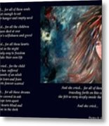 And She Cried - Poetry In Art Metal Print