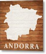Andorra Rustic Map On Wood Metal Print
