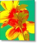 Andy Warhol Inspired Yellow Flower Metal Print