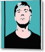 Andy Warhol Self Portrait 1964 On Cyan - High Quality Metal Print