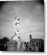Angel And Church In Calvary Cemetery New York City Metal Print