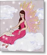 Angel And Her Puppy Metal Print