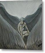 Angel At Twilight - Charcoal - 8 X 12 Metal Print