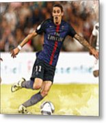 Angel Di Maria Controls The Ball Metal Print