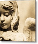 Angel Holding Clam Shell Metal Print by Diane Payne