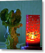 Angel In Candle Light Metal Print