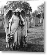 Angel On The Ground At Calvary Cemetery In Nyc New York Metal Print
