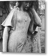 Angel On The Ground At Cavalry Cemetery, Nyc, Ny Metal Print