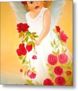 Angel Surrounded By Red Roses Metal Print