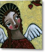 Angel With Bird Of Peace Metal Print