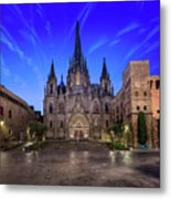 Angels Flying In Front Of The Cathedral Of The Holy Cross And Sa Metal Print