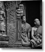 Angkok Wat Buddhist Monks Gather Metal Print