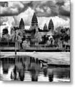 Angkor Wat Black Oil Paint  Metal Print