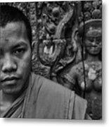 Angkor Watbuddhist Monk Portrait Metal Print