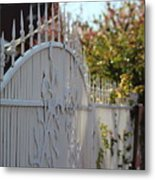 Angled Closeup Of White Washed Iron Gate To Garden Metal Print