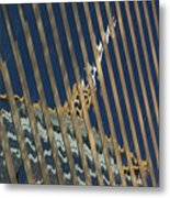 Angled Reflection Of Central Plaza In Skyscraper  Metal Print