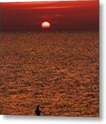 Angler In Summer Sunset Metal Print