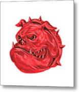 Angry Bulldog Head Drawing Metal Print