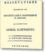 Animal Electricity, Title Page Metal Print