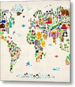 Animal Map Of The World For Children And Kids Metal Print by Michael Tompsett