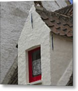 Animal Statue On The Dormer Roof Of A House In Bruges Belgium Metal Print