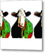 Animals Cows Three Pop Art Cows Warhol Style Metal Print