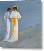 Anna Ancher And Marie Kroyer On The Beach At Skagen Metal Print