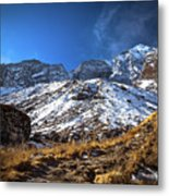 Annapurna Trail With Snow Mountain Background In Nepal Metal Print
