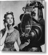 Anne Francis Movie Photo Forbidden Planet With Robby The Robot Metal Print