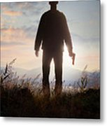 Anonymous Man In Silhouette Holding A Gun Metal Print