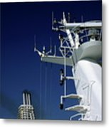 Antennas And Chimneys On A Large Ferry Metal Print