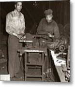 Anthracite Coal Artist  Charles Edgar Patience On Right  1906-1972 In Studio 1953    Metal Print