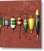 Antique Bobbers Red  Metal Print