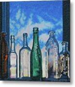 Antique Bottles At Dawn Metal Print