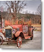 Antique Car And Filling Station 1 Metal Print