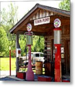 Antique Car And Filling Station 2 Metal Print