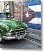 Antique Car And Mural Metal Print