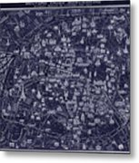 Antique French Pocket Map Of Paris Blueprint Style Metal Print