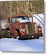 Antique Grungy Truck In Snow Metal Print