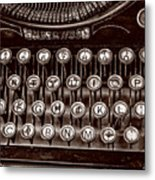 Antique Keyboard - Sepia Metal Print