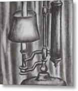 Antique Lamp In Charcoal Metal Print
