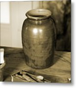 Antique Laundry And Clothes Pins In Sepia Photograph Metal Print