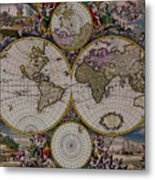 Antique Map Exotic Colorful Metal Print