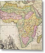 Antique Map Of Africa Metal Print by Pieter Schenk